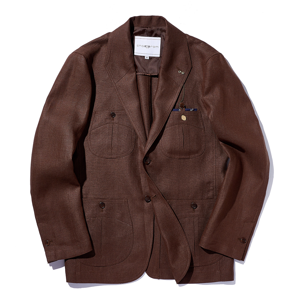 Chad Prom Teba Linen Jacket Brown