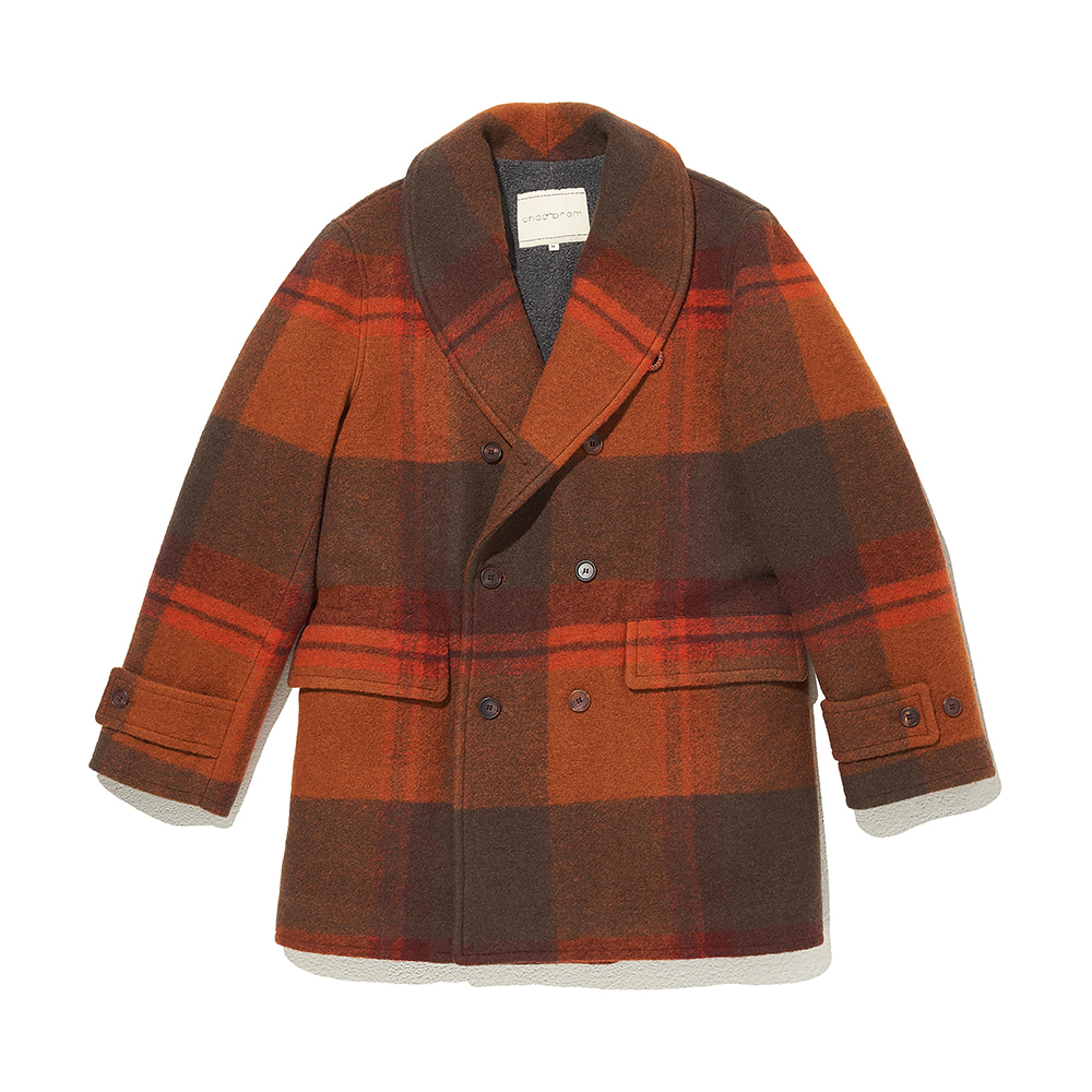 Shawl collar Coat Orange Big Check (Limited Edition)