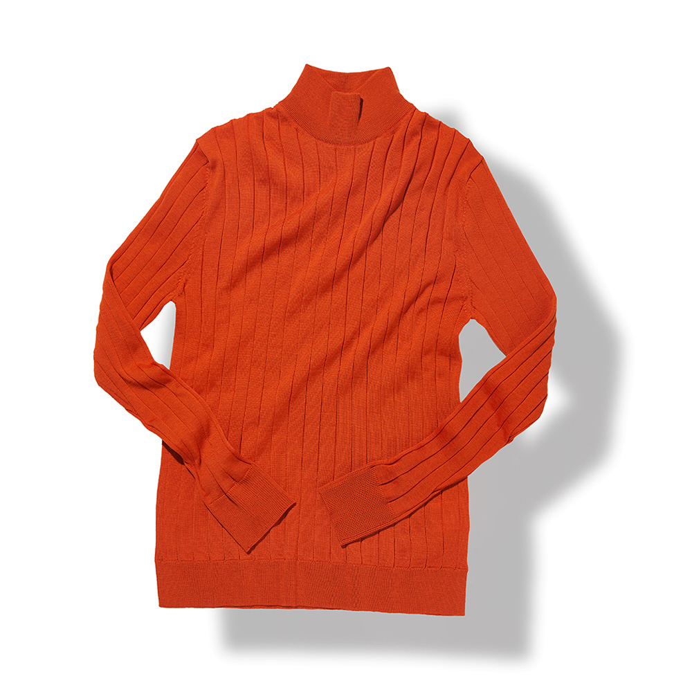 Ribbed Turtleneck - Orange