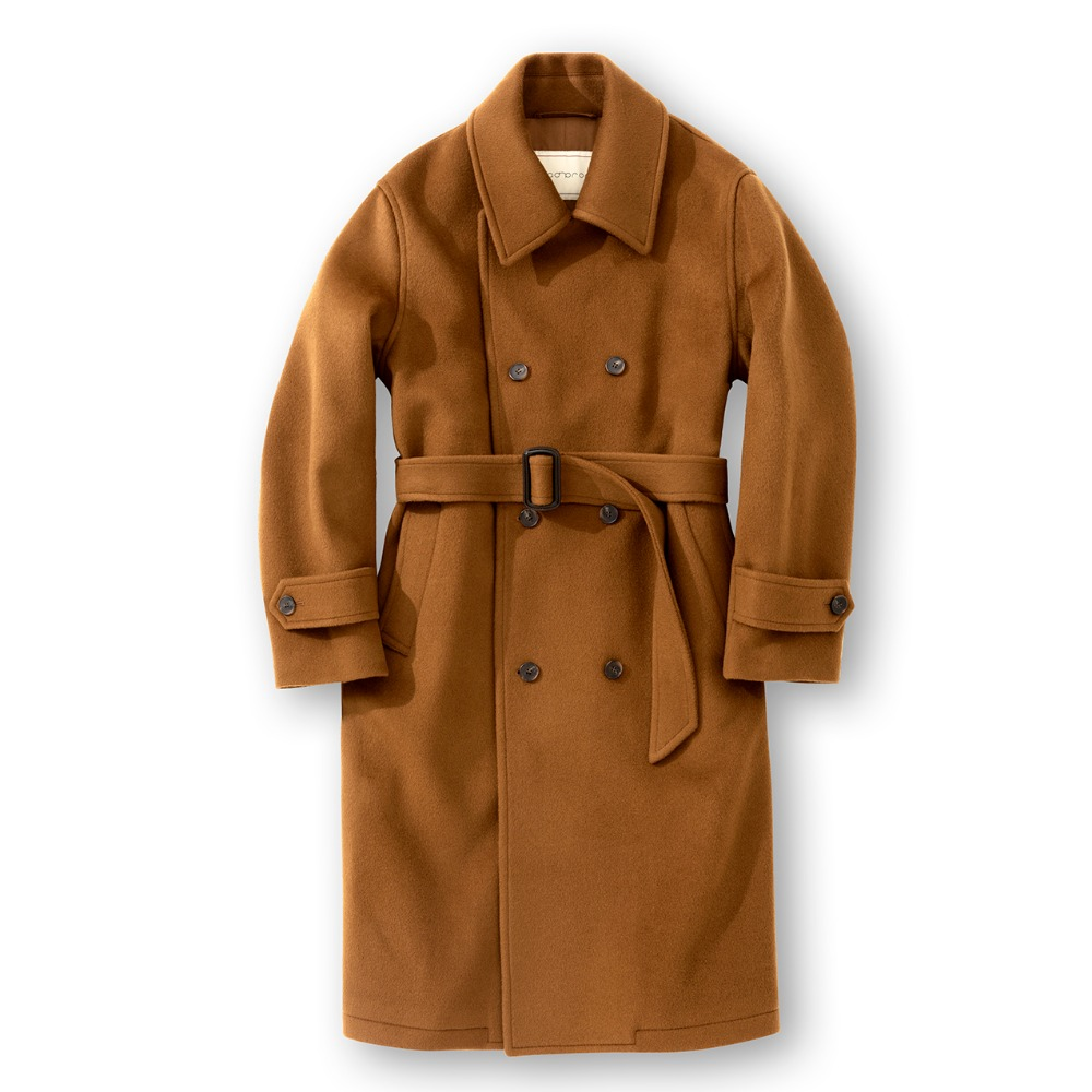 Heavy Wool Double belted coat - Camel
