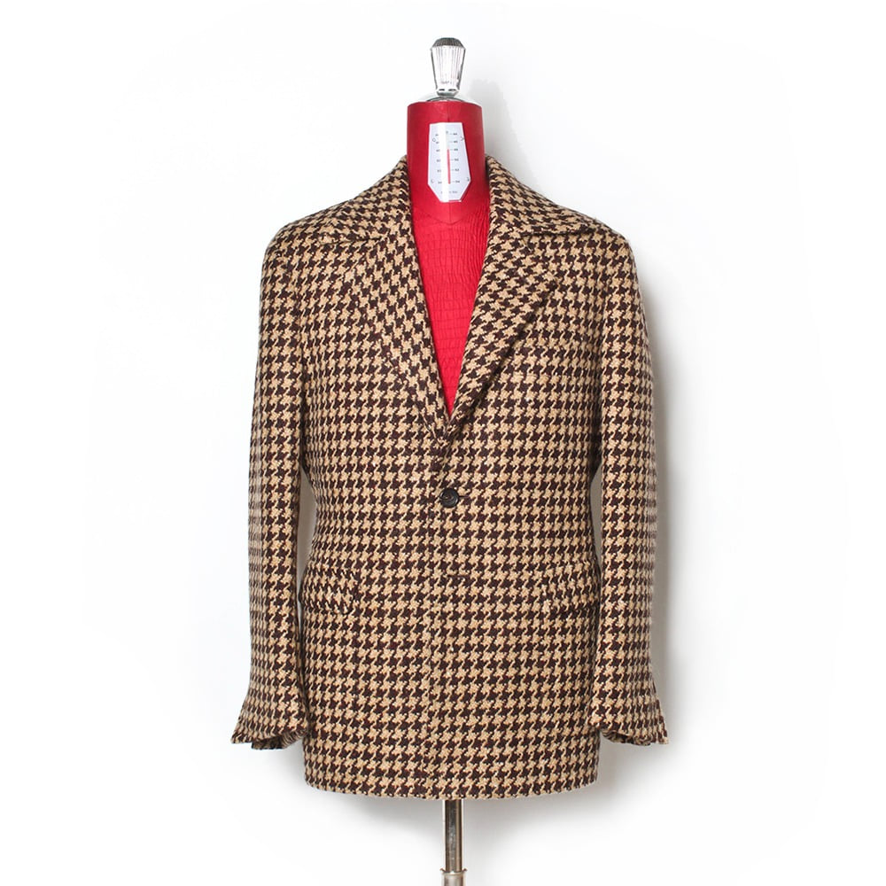 B&TAILOR RTW Hound Tooth Heavy Wool Caban Coat