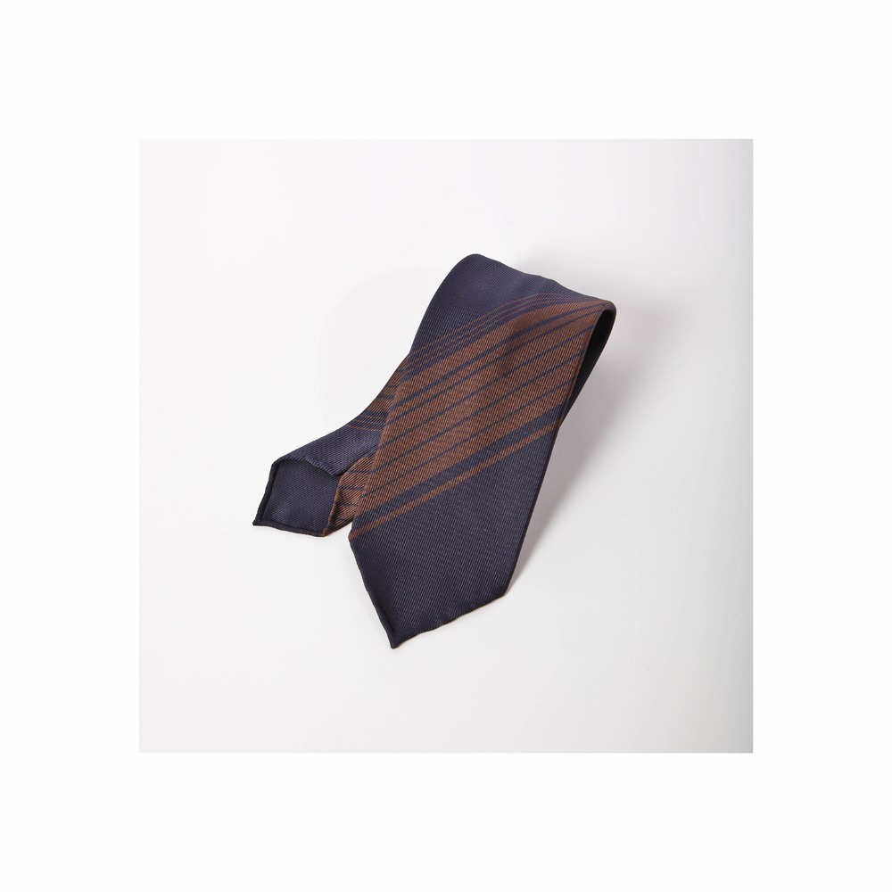 B&TAILOR Unlining 6Fold Tie  Navy - Brown Stripe