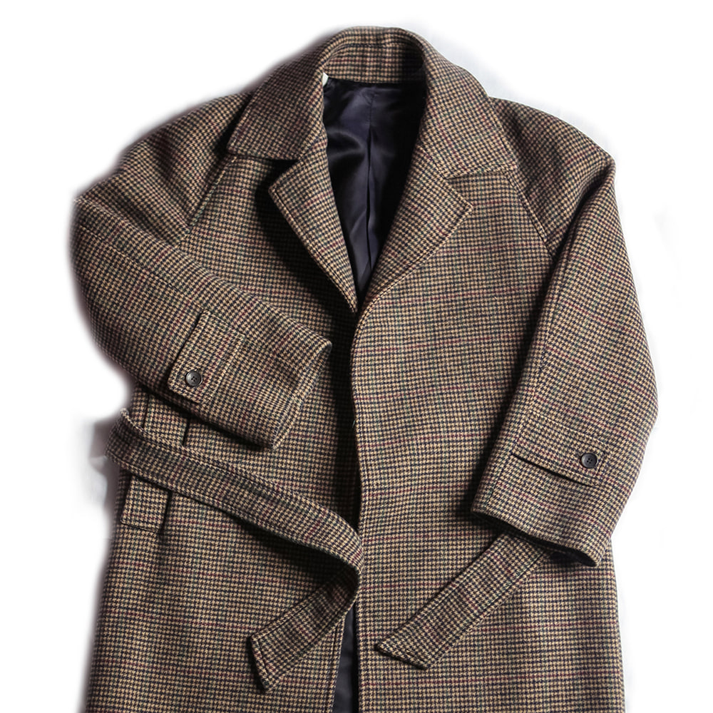 Hound tooth check Raglan Coat