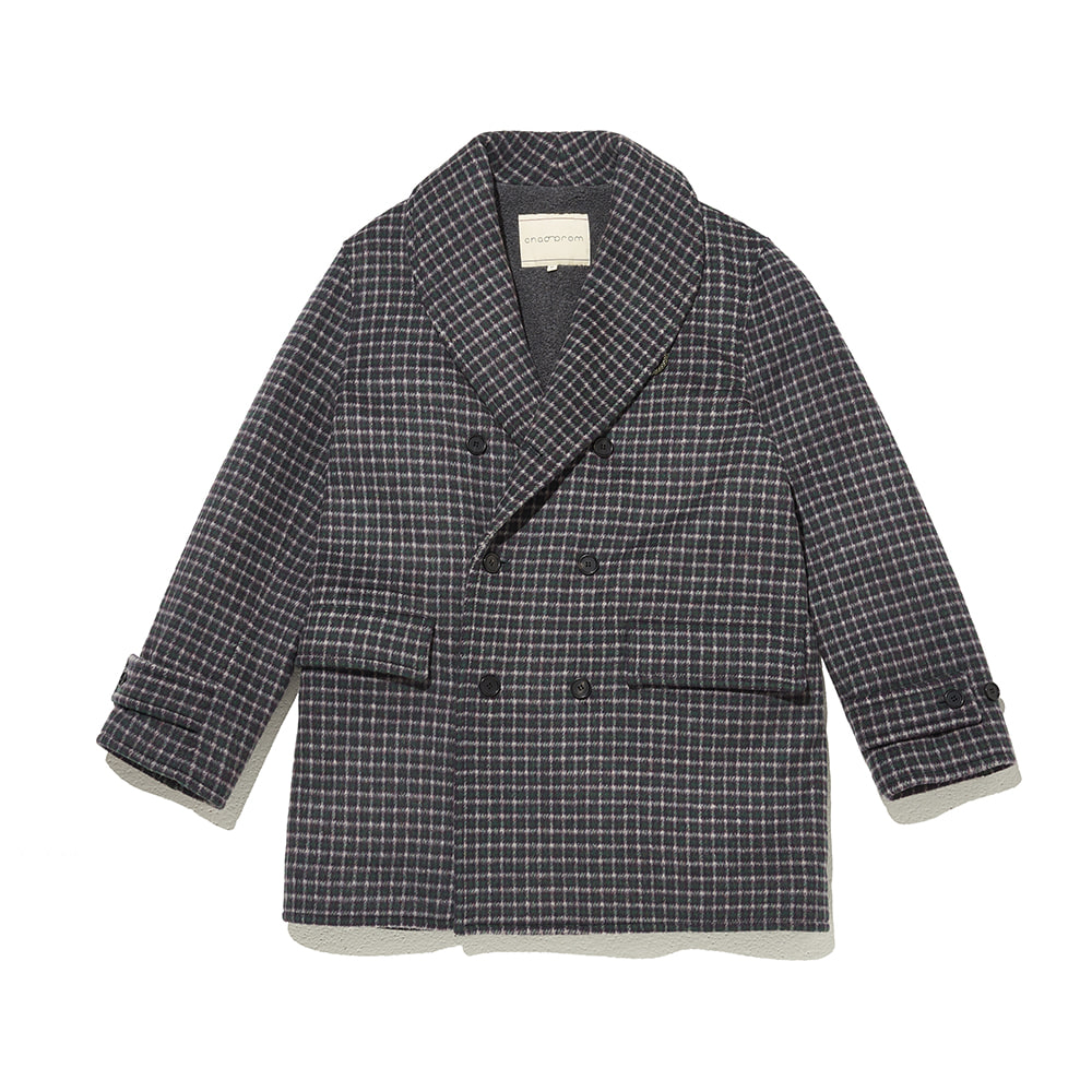 Shawl collar Coat Green & Violet Check