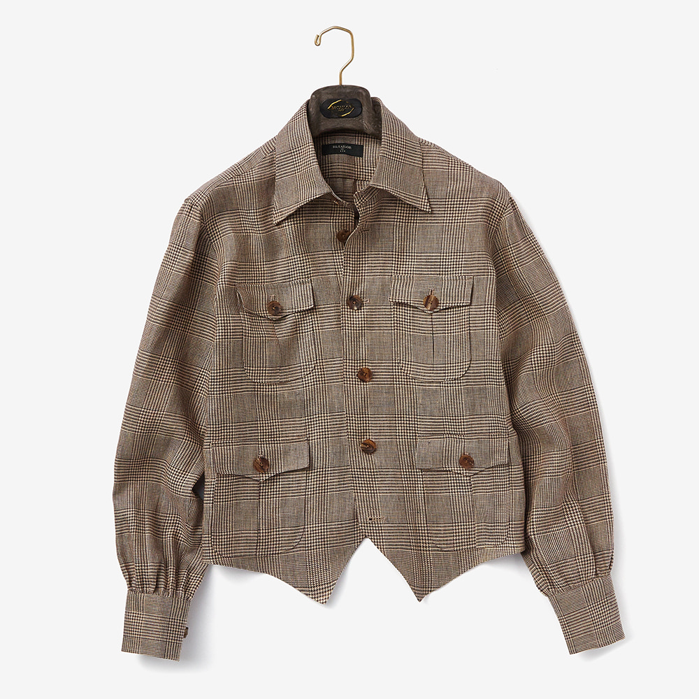 "B&TAILOR ""V JACKET"" Glen check"