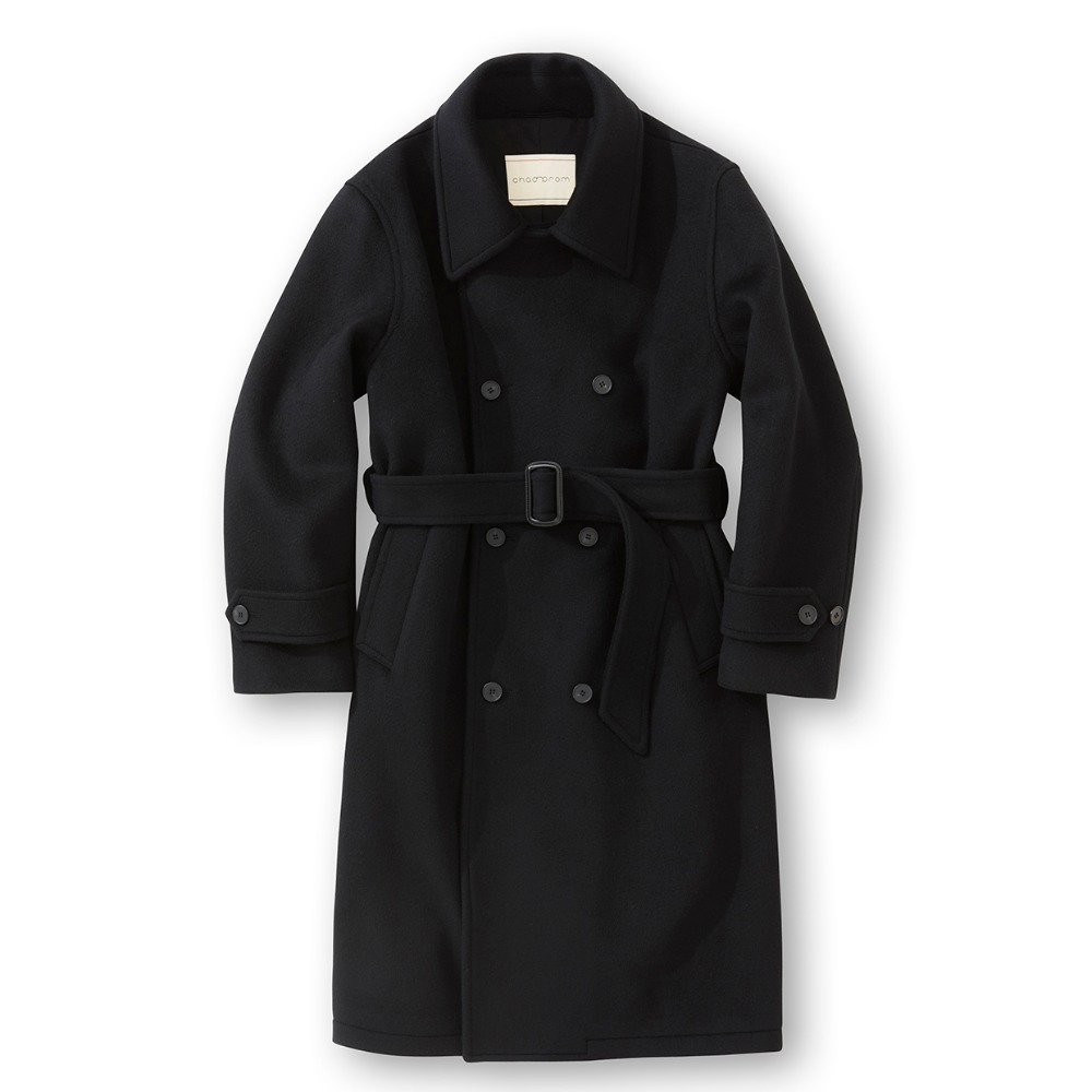 Heavy wool Double Belted Coat - Black