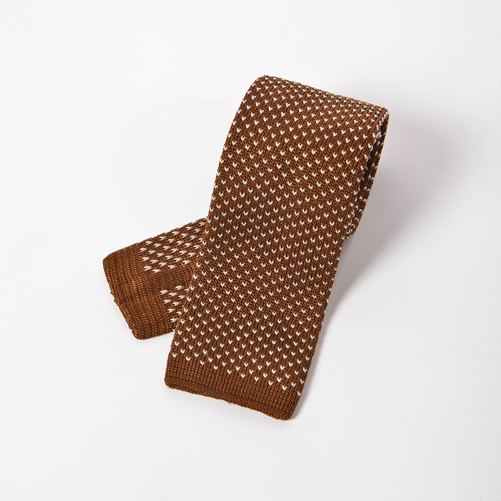 B&TAILOR Dot Neat Tie Brown