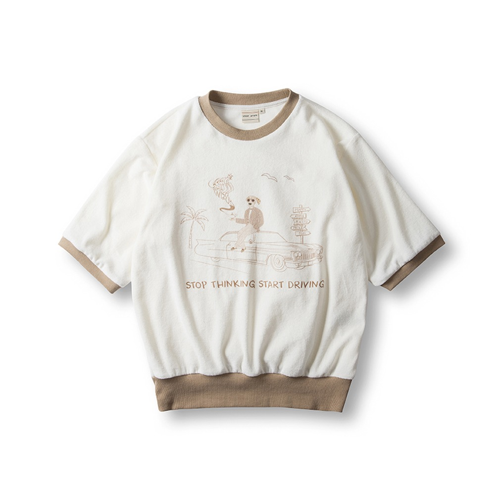 Terry Cotton T-Shirts- Beige